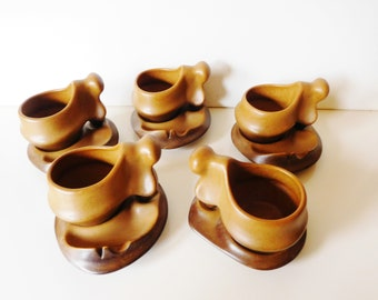 Unique and very rare Surreal Sculptural art pottery Tea / Coffee set of 5 made in Roemania, Faianta Sighisoara