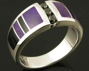 Black Diamond Wedding Ring Inlaid with Sugilite and Black Onyx, Sugilite Wedding Ring, Black Onyx Wedding Ring