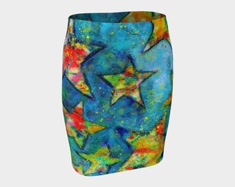 Shining Stars Fitted Skirt Pencil Skirt Rainbow Colorful Skirt Festival Clothes Summer Skirts Women Sexy Clothes for Her Printed Skirt Gift