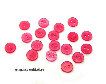 25 2 fuchsia color resin buttons round 11 mm diameter holes