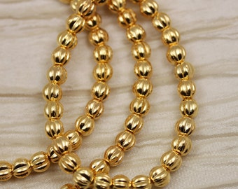 50pcs 5mm 24Kt Gold Plated Melons Czech Glass Beads, real gold beads, 24K gold beads. Baby melon beads.