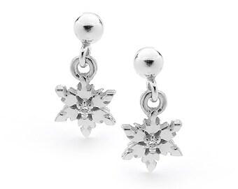 Sterling Silver Snowflake Earrings on Ball Studs