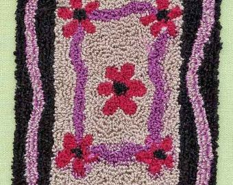 Flower Rug - Miniature Punch Needle Embroidery Doll House Rug PATTERN