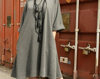 SALE Grey Maxi Dress / Casual Midi Dress / Loose Tunic Top / Plus Size Grey Dress / Extravagant Tunic by METAMORPHOZA
