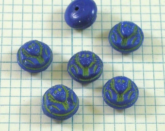 6 9mm Vintage Glass Cabochons - Blue Pharaoh Face