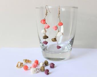 Gemstone Zig Zag Earrings, Red, Pink, Gold, Purple, & White, Pierced/Clip On Earrings, dangle earrings, Nickel Free, 18k gold plated, Gift