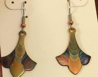 Copper Fleur de Lis Earrings colored with Fire