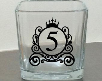 Wedding Table Numbers - 3 x 3 cube glass candle holder - Disney \ Cinderella Coach - wedding table marker - wedding reception table decor