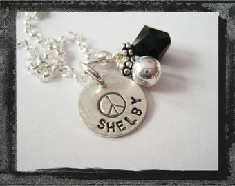 Peace Sign Necklace - Sterling Silver Charm