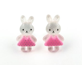 Cute bunny clip-on earrings