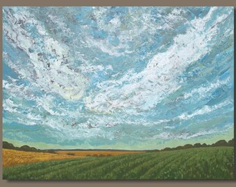 FREE SHIP XL Abstract Landscape Painting, Big Sky Painting, Textured Art, Living Room Decor, Prairies, Farm Fields Clouds, Impressionist