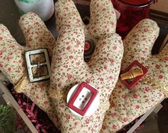 Handmade Fabric Hearts