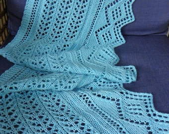 Hand Made Light blue Lace Scarf/Wrap Knit with 100% Wool
