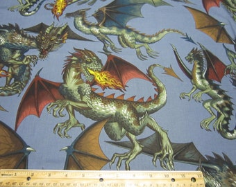 Cotton Dragon Fabric Called Tale of the Dragon in Steel Blue By Alexander Henry Fabrics