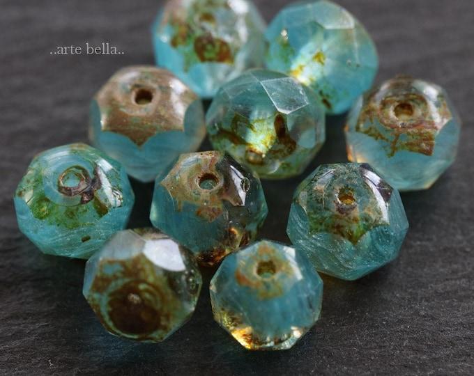 AQUARIUM No. 1 .. New 10 Premium Picasso Czech Glass Faceted Rondelle Beads 6x9mm (6262-10)