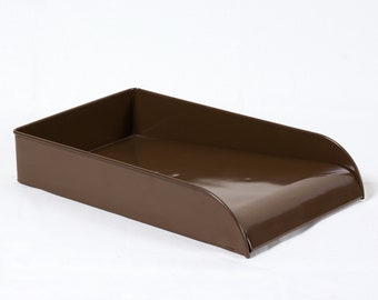 Vintage Steel Letter Tray Refinished in Classic Brown - Free U.S. Shipping