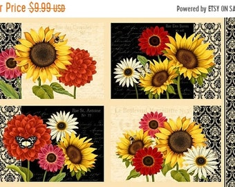 20% off thru 7/10 Fabric panel SUNSET BLOOMS-makes 4 placemats- by Wilmington Fabrics- 24 by 44 inches SUNFLOWERS mums daisies 38430-295