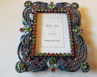 Czech Colorful Crystal adorned metal picture frame, with glass