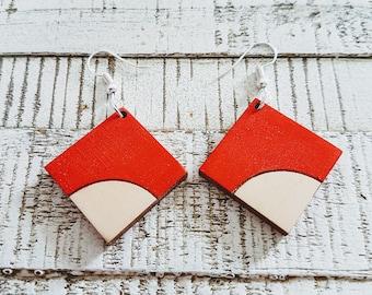 Wooden Diamond Two Tone Red Earrings