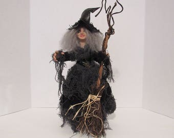 Agatha Dark Witch, OOAK Art Doll, Witch, Goth Art Doll, Handmade Sculpture, by ds hahn
