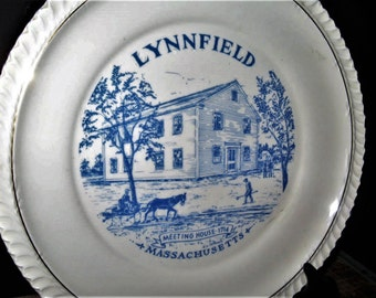 Vintage Crest Lynnfield MA Commemorative Plate - Vintage Lynnfield, MA Meeting House Plate, Lynnfield Blue and White Plate