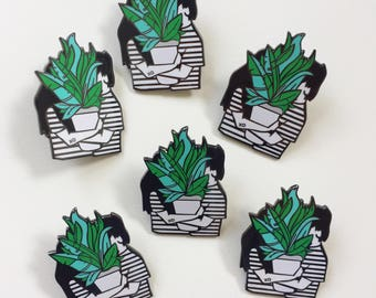 Plant Lovers Hard Enamel Lapel Pin | Pins | Potted Plant Pin | Plant Love Pin | Plant Gift | Plantlove | Cactus Pin