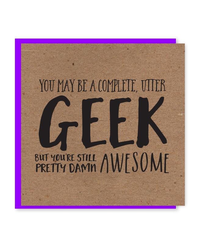 Geek birthday card nerdy birthday card funky recycled zoom bookmarktalkfo Images