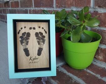Wood Engraved Footprint Keepsake