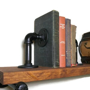 Bookends, Book End, Gift for Him, Industrial Decor, Modern Bookend, Pipe Bookend, Metal Bookend, Industrial Bookend, Rustic Bookend, Novelty
