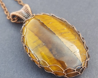 Tigers Eye Necklace, Handmade Copper Jewelry, Wire Wrapped Jewelry, Wire Weave Jewelry, Wire Wrapped Cabochon, Handcrafted Crystal Necklace