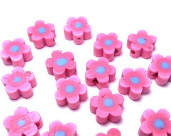 25 9mm Fimo Polymer Clay Flower Shaped Beads Variety Fuschia Blue  Flowers