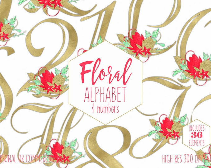GOLD FOIL ALPHABET Clipart for Commercial Use Floral Letters & Numbers Clip Art Wedding Monograms Gold Metallic Font Digital Graphics Png