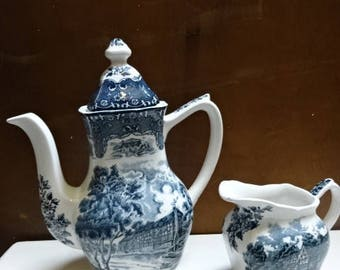 W H Grindley Tea Pot & Creamer/English Country Inns/Blue and White/Vintage