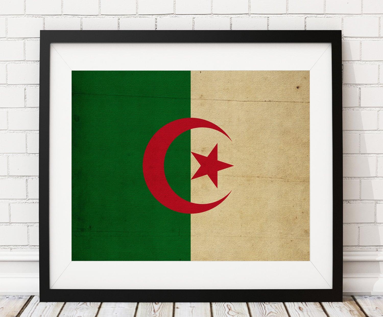 Algeria Africa Flag Art, Algeria Flag Print, Flag Poster, Office ...