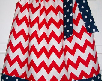 Patriotic Dress Pillowcase Dress 4th of July Dress Chevron Dress red white and blue Patriotic Clothes Patriotic Outfit red white & navy USA