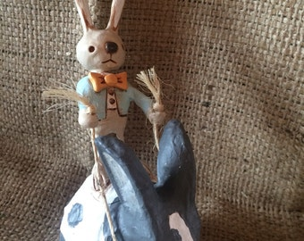 OOAK Love Bunny Boy rabbit rider folk art sculpture Ready to Ship