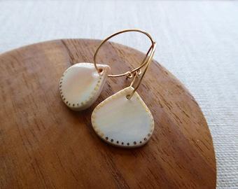 Seashell Hoop Earrings in Marble Clay