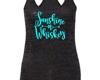 "Sunshine & Whiskey""Country shirt tank fitness tank,whiskey drinking tank,whiskey girl,Southern Girl,Southern Pride,Whiskey Tank,Country Tank"