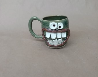 Green UgChug Face Mug. 16 Ounce Coffee Cup. Funny Keto Diet Dieter's Mug. Microwave and DIshwasher Safe Stoneware. Father's Day Gift!