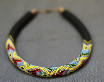 Bright African necklace Geometric Beaded crochet Tribal jewelry Boho style