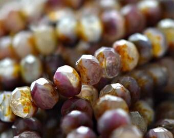 Love Story - Premium Czech Glass Beads, Opaque, Transparent Purple, Pink, White, Topaz Picasso Finish, Fire-polish Rondelles 9x6mm - Pc 10