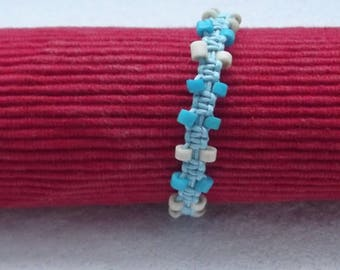Blue waxed cotton and bone beads bracelet