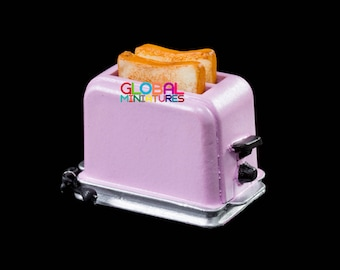 Dollhouse Miniatures Pastel Purple Electric Toaster Bread Cooking Machine Breakfast Kitchen Decorating Supply - 1:12 Scale