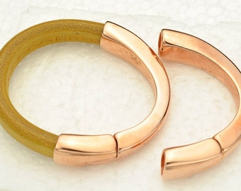 Magnetic Half Cuff Bracelet Finding - Rose Gold - for use with 10x6mm Licorice Leather  (Qty.1)