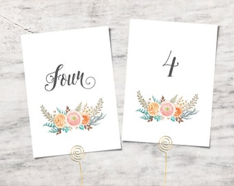 Printable Table Number Template, Ranunculus Flower Cards, Wedding Table Numbers - INSTANT DOWNLOAD