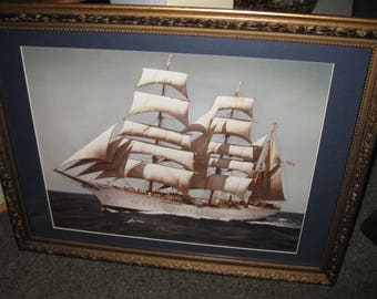 "OPERATION SAIL 1992 Photograph Of Tall Ship Professionally Framed 26 1/2"" x 22 1/2"" Goldtone Wood Frame With Decorative Border Blue Mat"