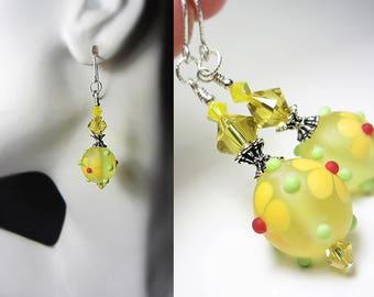 Artisan Lampwork Earrings Lemon Dolly Earrings Dotty Flowers Earrings Frosted Yellow Earrings  Summer Jewelry Nature Jewelry Gift for Her