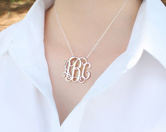"""Monogram Necklace 1.5""""-Christmas necklace-Personalized silver Monogram necklace-925 Sterling silver necklace-Christmas gifts"""