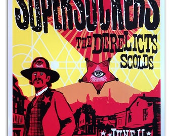 Supersuckers and Derelicts hand printed poster