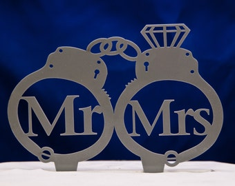 Mr. and Mrs. Handcuffs wedding cake topper -  Mr and Mrs inside handcuffs with diamond wedding cake topper - police cake topper